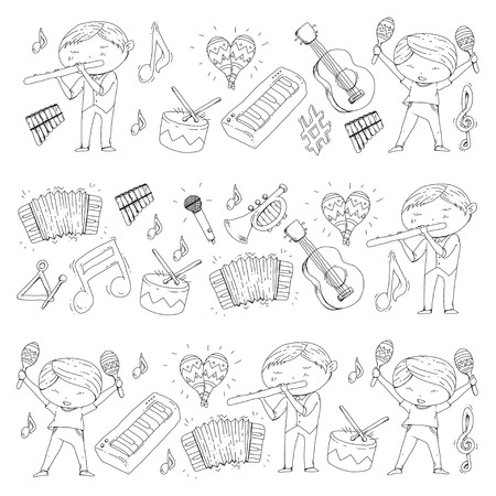School of music, Musical theatre, Preschooler kids with music instruments, Boys and girls playing drum, flute, accordion, trumpet, piano, music perfomance and school age kids orchestra. Illustration