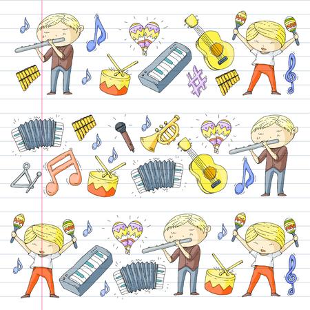 School of music Musical theater  kids instrument pattern design. Stock Vector - 92345340
