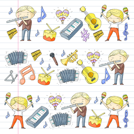 School of music Musical theater  kids instrument pattern design. Illustration