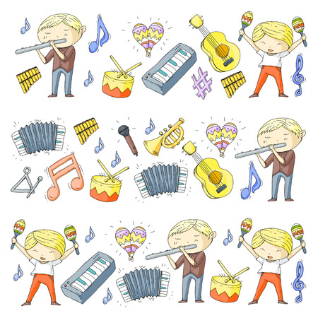 Different illustration of musical instruments played by kindergartens in white background. Illustration