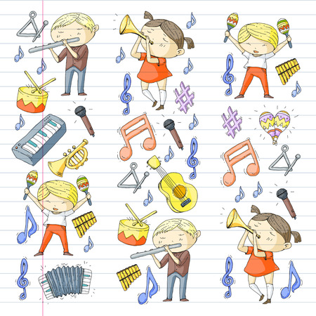 School of music musical theater kindergarten children with music instruments.  イラスト・ベクター素材