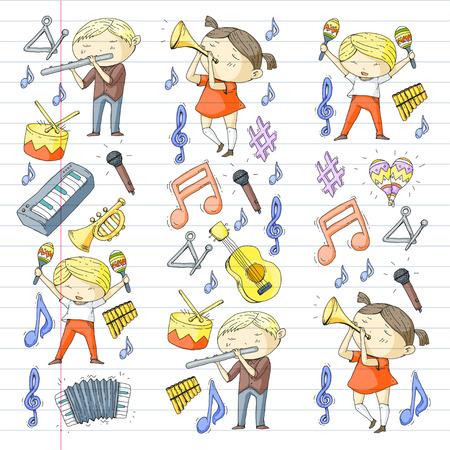 School of music musical theater kindergarten children with music instruments. Stock Vector - 92360790