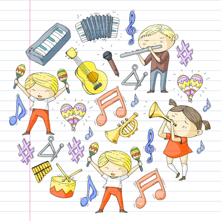 School of music Musical theatre children with music instruments Boys and girls playing drum, flute, accordion, trumpet, piano Music perfomance and school age kids Children orchestra