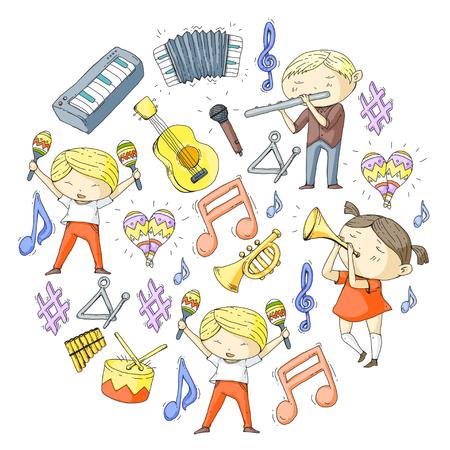 Muziekschool, muziektheater, kinderen met muziekinstrumenten, jongens en meisjes spelen drum, fluit, accordeon, trompet, piano, muziekprestaties en schoolgaande kinderen.