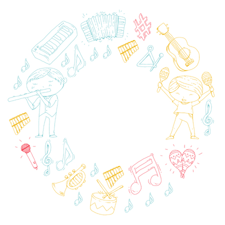 School of music, musical theatre, kids with music instruments, Boys and girls playing drum, flute, accordion, trumpet, piano  Music perfomance and school age kids. Stock Vector - 92348860