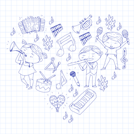 School of music Musical theatre Kindergarten children with music instruments Boys and girls playing drum, flute, accordion, trumpet, piano Music perfomance and school age kids Children orchestra Stock Vector - 92346727
