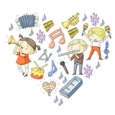 School of music Musical theatre Kindergarten children with music instruments Boys and girls playing drum, flute, accordion, trumpet, piano Music perfomance and school age kids Children orchestra Vectores