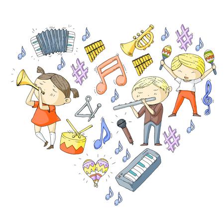 Escola de música Teatro musical Crianças do jardim de infância com instrumentos musicais Meninos e meninas tocando tambor, flauta, acordeão, trompete, piano Músicos de música e crianças em idade escolar Orquestra infantil Foto de archivo - 92346729