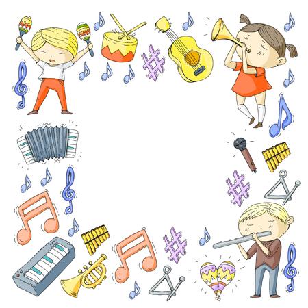音楽学校ミュージカルシアター幼稚園の子供たちと楽器を持つ。