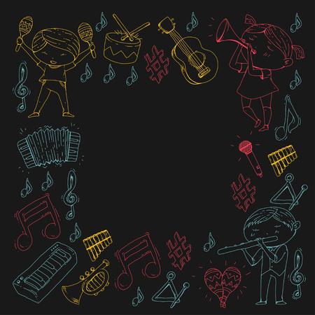 School of music Musical theatre Kindergarten children with music instruments. Illustration