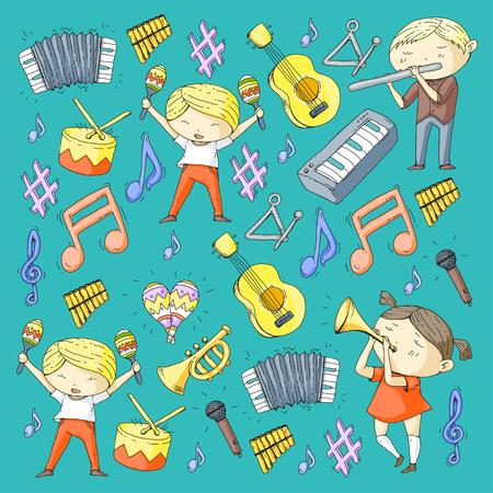 音楽ミュージカルシアター幼稚園幼稚園の子供たちと楽器を演奏男の子と女の子はドラム、フルート、アコーディオン、トランペット、ピアノ音楽