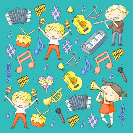 School of music Musical theatre Kindergarten children with music instruments Boys and girls playing drum, flute, accordion, trumpet, piano Music perfomance and school age kids Children orchestra Ilustracja