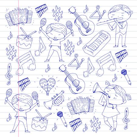 School of music musical theater kindergarten children with music instruments. Illustration