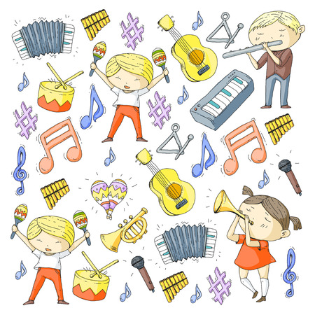 School of music Musical theatre Kindergarten children with music instruments Boys and girls playing drum, flute, accordion, trumpet, piano Music perfomance and school age kids Children orchestra Illustration