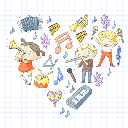 School of music Musical theatre Kindergarten children with music instruments Boys and girls playing drum, flute, accordion, trumpet, piano Music perfomance and school age kids Children orchestra Stock Vector - 92351894