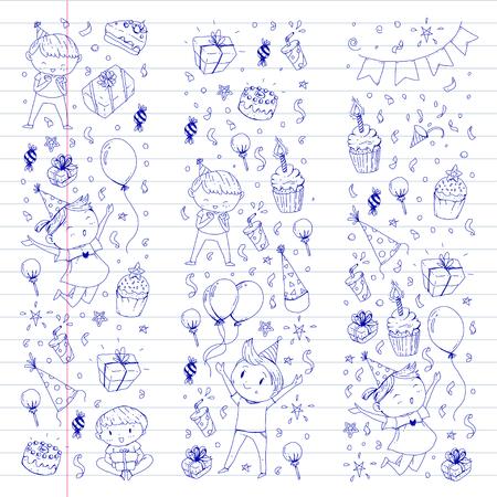 Crianças desenho para convite de festa com meninos e meninas, doces e balões, presentes e presentes Foto de archivo - 92410044