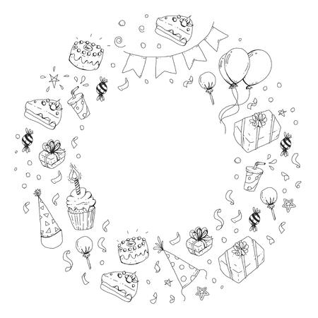De partijelementen van de verjaardag in ronde illustratie Stock Illustratie