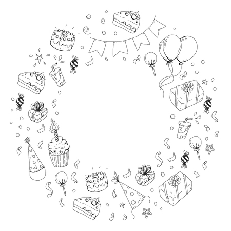 Birthday party elements in round illustration Vectores