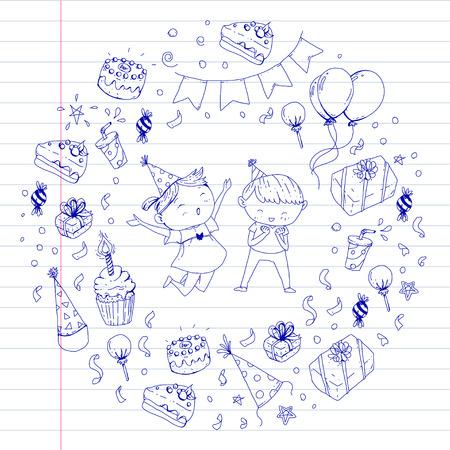 Birthday party elements banner design on round illustration.