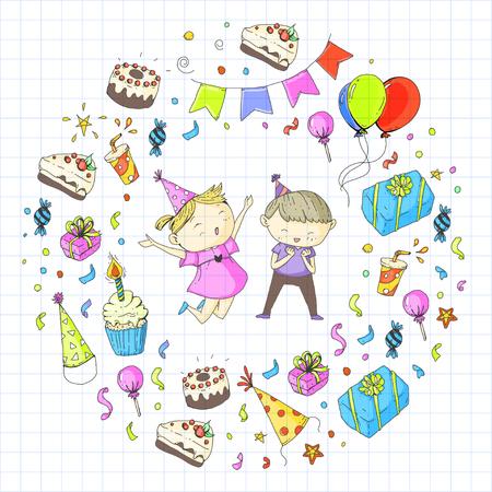 Niños dibujando para invitación de fiesta con niños y niñas, dulces y globos, regalos y regalos Foto de archivo - 92410048