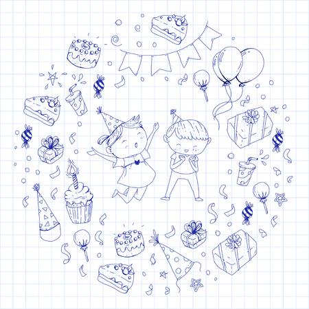 Niños dibujando para invitación de fiesta con niños y niñas, dulces y globos, regalos y regalos Foto de archivo - 92410049
