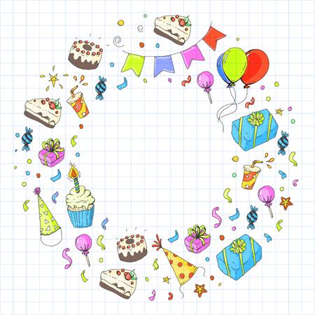 Niños dibujando para invitación de fiesta con niños y niñas, dulces y globos, regalos y regalos Foto de archivo - 92410052