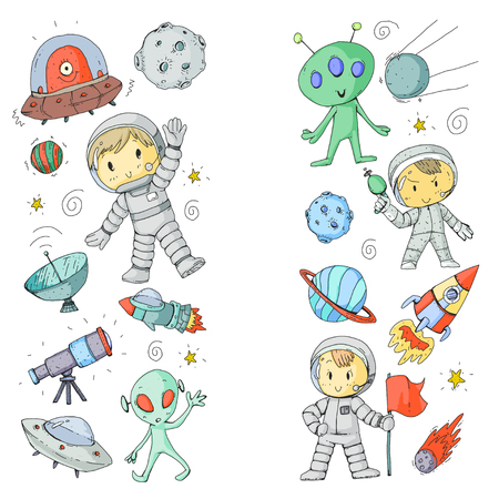 Moon surface. Kindergarten children play space exploration. Alien, ufo, spaceship. rocket. Children, boys and girls with moon, mars, saturn, jupiter
