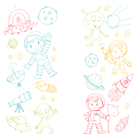 Kids playing in space pattern design.