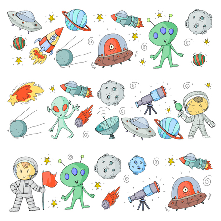 Moon surface illustration. Children play space exploration.