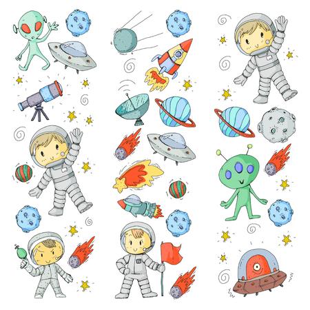 Moon surface. Kindergarten children play space exploration. Alien, ufo, spaceships, rocket. Children, boys and girls with moon, mars saturn jupiter