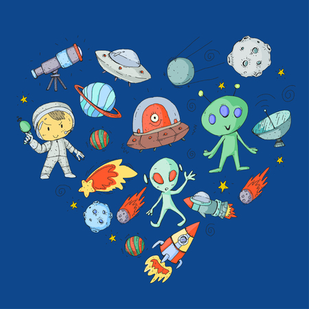 Moon surface children play space exploration. Alien, ufo, spaceships, rocket. Children, boys and girls with moon, mars saturn jupiter