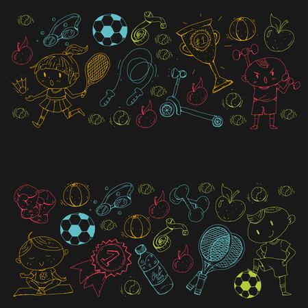 Esportes para crianças. Crianças de desenho. Jardim de infância, escola, faculdade. Foto de archivo - 92443835