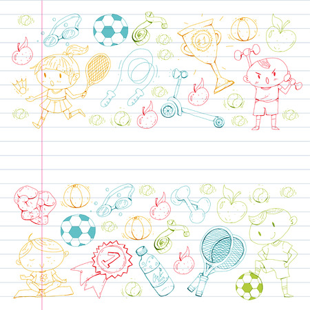 Esportes para crianças. Crianças de desenho. Jardim infância, escola, faculdade, pré-escolar futebol, futebol, tênis, executando, boxe, rúgbi, ioga, natação Foto de archivo - 92441481