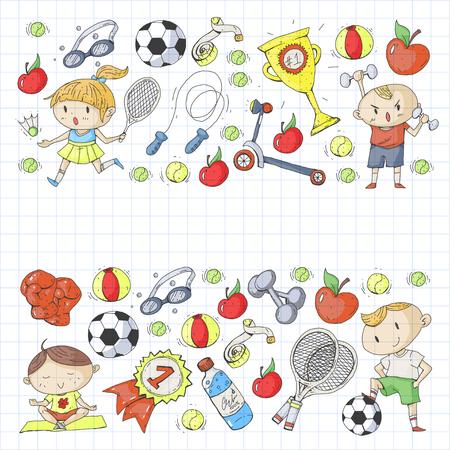 Children sports. Kids drawing. Kindergarten, school, college, preschool Soccer football tennis running boxing rugby yoga swimming Ilustrace
