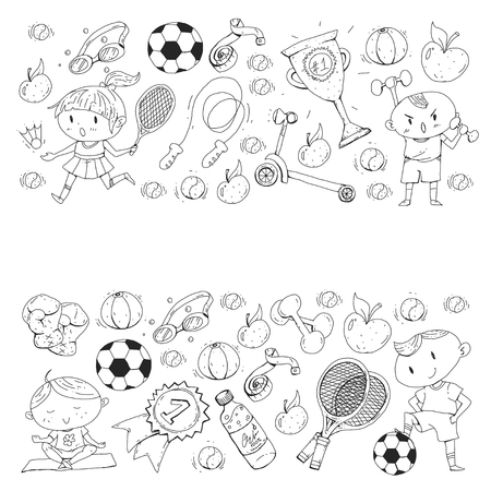 Children sports. Kids drawing. Kindergarten, school, college, preschool Soccer football tennis running boxing rugby yoga swimming.