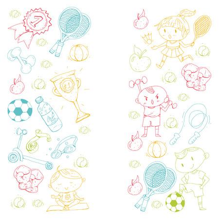 Esportes para crianças. Crianças de desenho. Jardim de infância, escola, faculdade, pré-escolar Futebol futebol tênis corrida boxe rugby ioga natação. Foto de archivo - 92441689