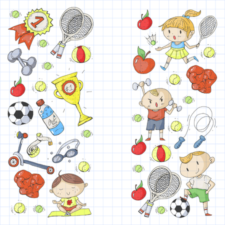 Children sports. Kids drawing. Kindergarten, school, college, preschool Soccer football tennis running boxing rugby yoga swimming.