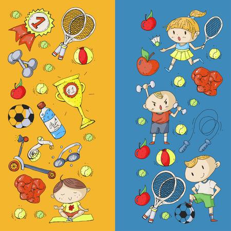 Deportes para niños Niños dibujando. Jardín de infantes, escuela, colegio, preescolar Fútbol fútbol tenis corriendo boxeo rugby yoga natación Foto de archivo - 92443344
