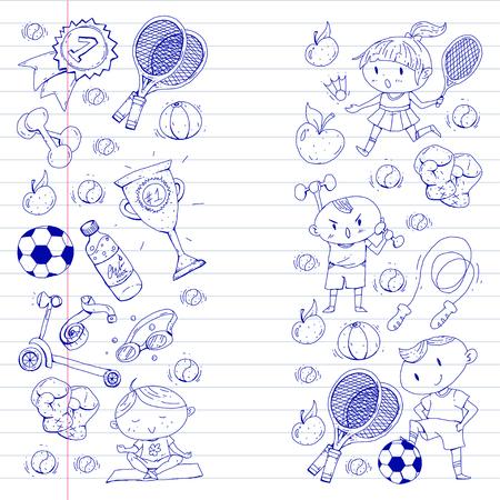 Kinderen sporten. Kinderen tekenen. Kleuterschool, school, universiteit, kleuterschool. Voetbal, voetbal, tennis, hardlopen, boksen, rugby, yoga, zwemmen