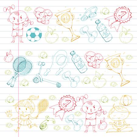 Los niños se divierten Niños dibujando. Kindergarten, escuela, colegio, preescolar. Fútbol, ??fútbol, ??tenis, correr, boxeo, rugby, yoga, natación Foto de archivo - 92490022