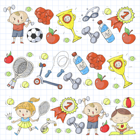 Esporte infantil. Crianças de desenho. Jardim de infância, escola, faculdade, pré-escola. Futebol, futebol, tênis, corrida, boxe, rugby, ioga, natação Foto de archivo - 92490025