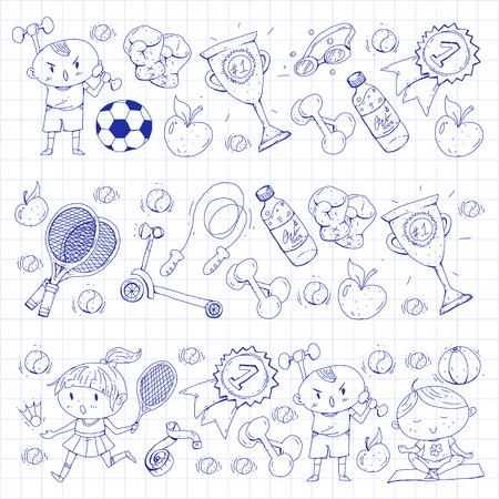 Esporte infantil. Crianças de desenho. Jardim de infância, escola, faculdade, pré-escola. Futebol, futebol, tênis, corrida, boxe, rugby, ioga, natação Foto de archivo - 92490026