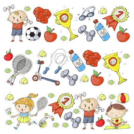 Children sport. Kids drawing. Kindergarten, school, college, preschool. Soccer, football, tennis, running, boxing, rugby, yoga, swimming Vettoriali