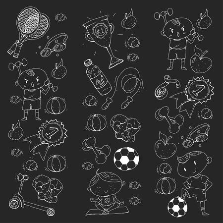 Esporte infantil. Crianças de desenho. Jardim de infância, escola, faculdade, pré-escola. Futebol, futebol, tênis, corrida, boxe, rugby, ioga, natação Foto de archivo - 92490035