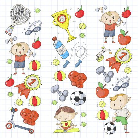 Esporte infantil. Crianças de desenho. Jardim de infância, escola, faculdade, pré-escola. Futebol, futebol, tênis, corrida, boxe, rugby, ioga, natação Foto de archivo - 92490034
