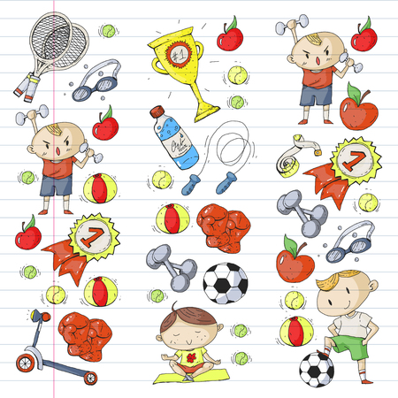 Children sport. Kids drawing. Kindergarten, school, college, preschool. Soccer, football, tennis, running, boxing, rugby, yoga, swimming Illustration