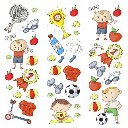 Esporte infantil. Crianças de desenho. Jardim de infância, escola, faculdade, pré-escola. Futebol, futebol, tênis, corrida, boxe, rugby, ioga, natação Foto de archivo - 92490040