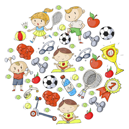 Kids drawing of different sports pattern design. Reklamní fotografie - 92479693