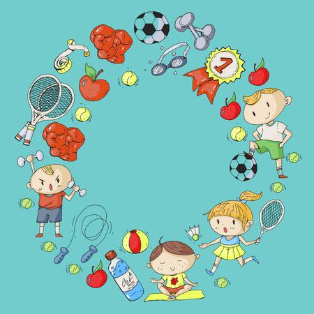 Dibujo de niños de diferentes patrones de diseño deportivo. Foto de archivo - 92479698