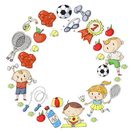 Esportes para crianças. Crianças de desenho. Jardim de infância, escola, faculdade. Foto de archivo - 92444079